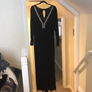 T-bags long sleeve maxi dress with pearl detail